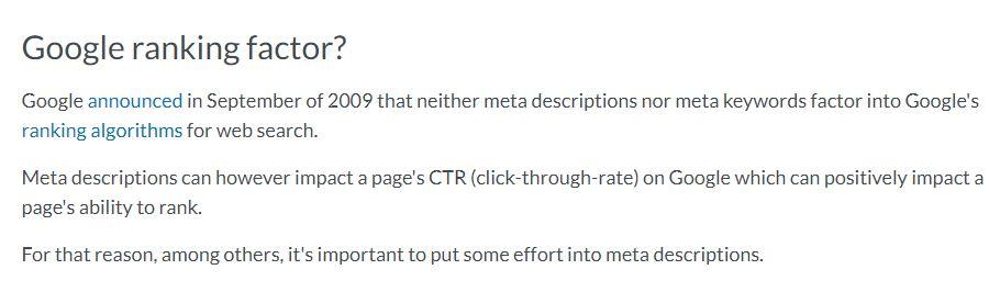 Moz say about meta description