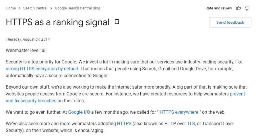 HTTPS as a ranking signal