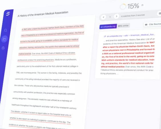 Quetext Plagiarism Checker with percentage