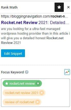 rankmath keyword assignning