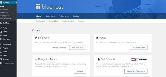 Bluehost Custome Menu Dashboard